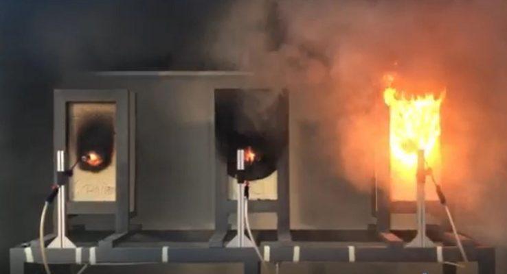 Thí nghiệm đốt tấm panel PIR trong vòng 60 phút, nhiệt độ 1000oC